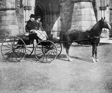 Photograph of a horse-drawn buggy in front of Centre Block, Ottawa, ca 1900