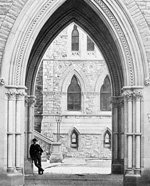Photograph of the west side entrance arch, Centre Block, ca. 1880-1890