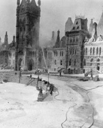 Photograph of Centre Block fire, taken from the office of the Governor General's secretary in East Block, February 4, 1916