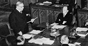 Photograph of Prime Minister Mackenzie King addressing the opening session of the Dominion-Provincial Conference, House of Commons, January 14, 1941