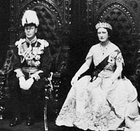 Photograph of King George VI and Queen Elizabeth in the Senate Chamber giving Royal Assent to Bills, 1939