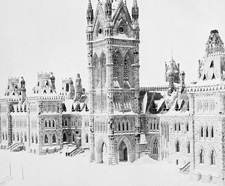 Photograph of Centre Block in winter, viewed from east, ca. 1870
