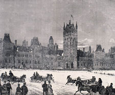 Illustration of the Centre Block with sleighs in foreground, February 1870