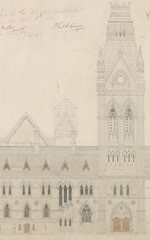 Architectural drawing of the south elevation of the Centre Block, 1859