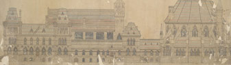 Architectural drawing of the east and west elevations of the Centre Block, 1859