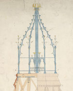 Architectural drawing of the main tower of the Centre Block, 1871