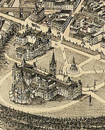 Map showing bird's-eye view of the city of Ottawa, by Herman Brosius, 1876