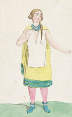Print of an imaginary Aboriginal woman of Canada, 1796-1804