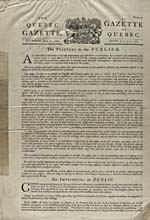 Copy of 1764 issue of the QUEBEC GAZETTE, printed in the 1900s