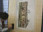 For added support, the lithograph was then relined with a thin Japanese paper and dried on a karibari, a Japanese drying screen.