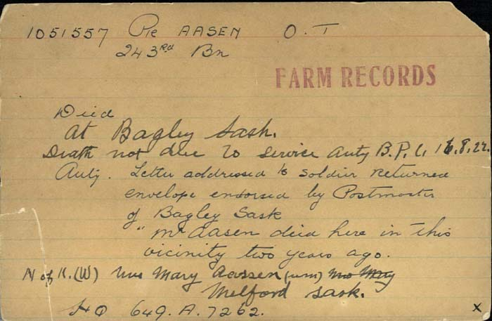Title: Veterans Death Cards: First World War - Mikan Number: 46114 - Microform: aasen_o-t