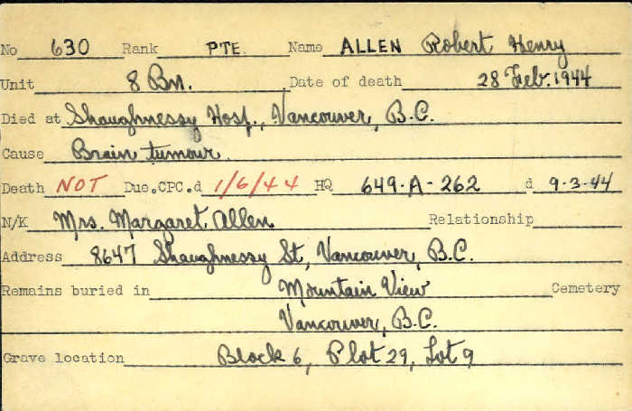 Titre: Cartes de décès des combattants : Première Guerre mondiale - N° d'enregistrement Mikan: 46114 - Microforme: allen_robert-h