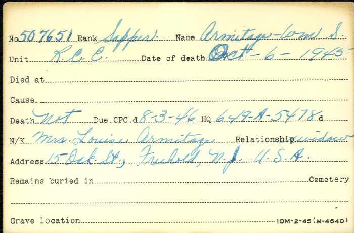 Title: Veterans Death Cards: First World War - Mikan Number: 46114 - Microform: allen_robert-h