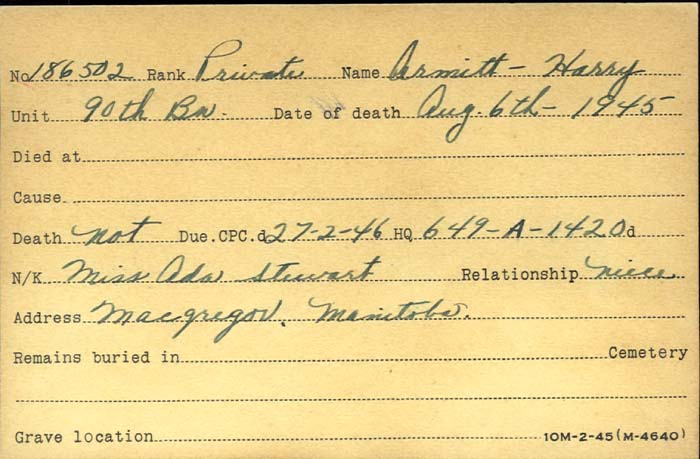 Title: Veterans Death Cards: First World War - Mikan Number: 46114 - Microform: armitt_harry