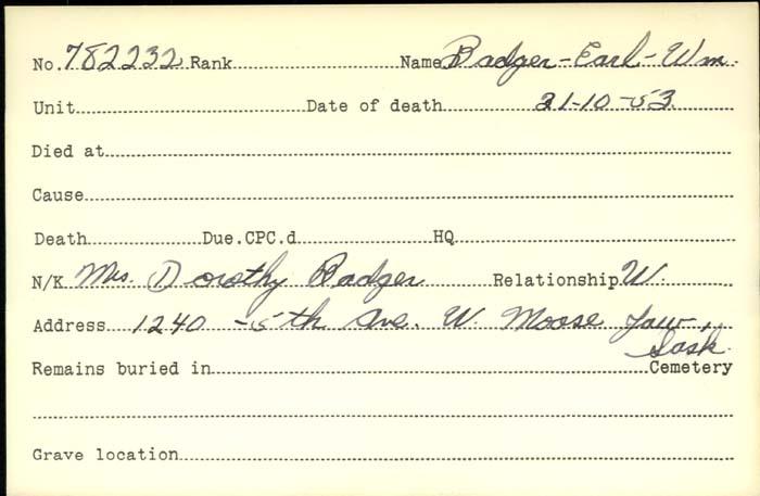 Titre: Cartes de décès des combattants : Première Guerre mondiale - N° d'enregistrement Mikan: 46114 - Microforme: badeau_eugene