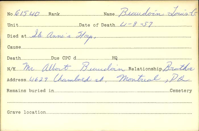 Title: Veterans Death Cards: First World War - Mikan Number: 46114 - Microform: barnes_adam