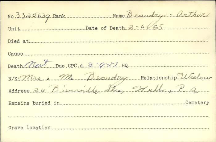 Titre: Cartes de décès des combattants : Première Guerre mondiale - N° d'enregistrement Mikan: 46114 - Microforme: beaudry_arthur