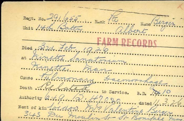 Titre: Cartes de décès des combattants : Première Guerre mondiale - N° d'enregistrement Mikan: 46114 - Microforme: berger_albert