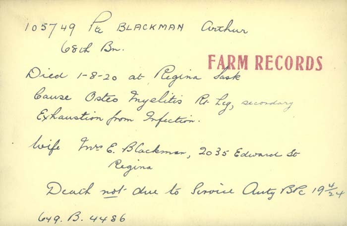 Title: Veterans Death Cards: First World War - Mikan Number: 46114 - Microform: blackman_alfred