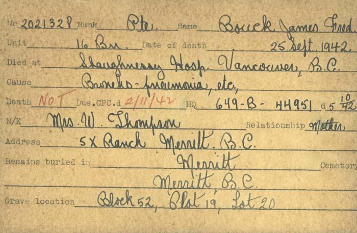 Titre: Cartes de décès des combattants : Première Guerre mondiale - N° d'enregistrement Mikan: 46114 - Microforme: bouck_james