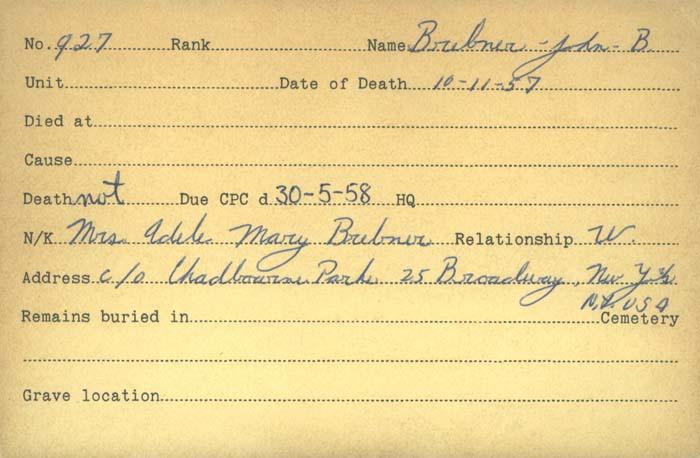 Title: Veterans Death Cards: First World War - Mikan Number: 46114 - Microform: brebner_john