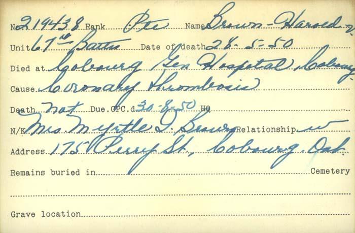 Titre: Cartes de décès des combattants : Première Guerre mondiale - N° d'enregistrement Mikan: 46114 - Microforme: brebner_john