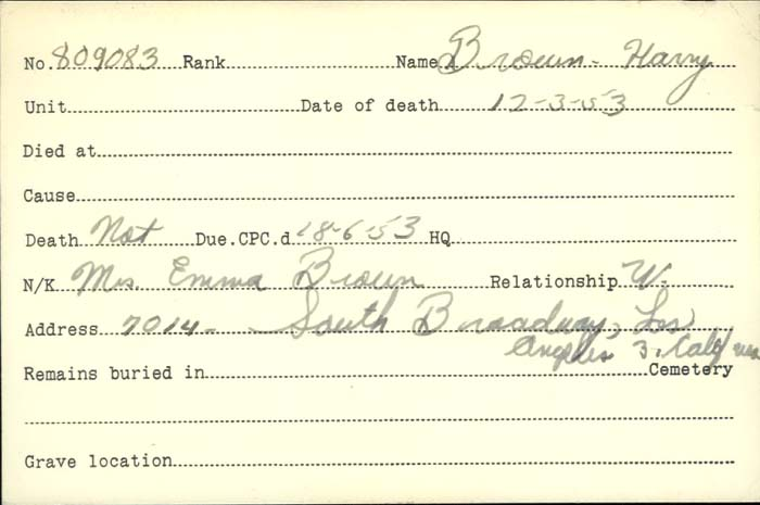 Title: Veterans Death Cards: First World War - Mikan Number: 46114 - Microform: brown_harry