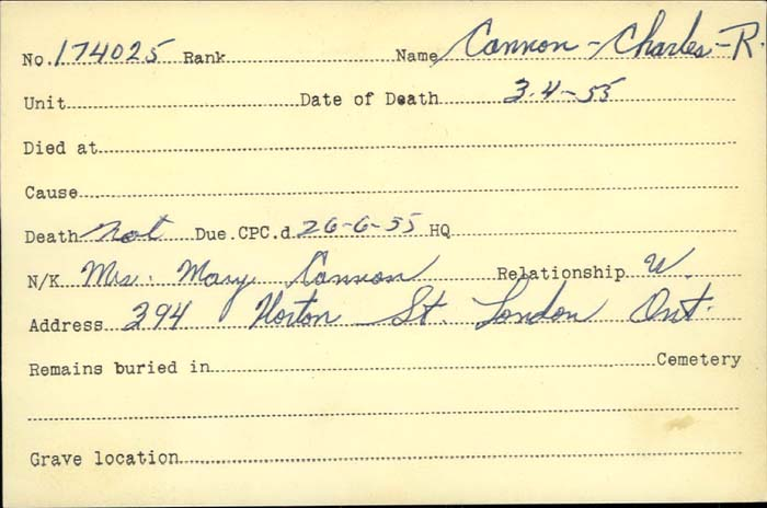 Title: Veterans Death Cards: First World War - Mikan Number: 46114 - Microform: cannon_charles
