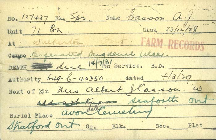 Title: Veterans Death Cards: First World War - Mikan Number: 46114 - Microform: casson_a-j