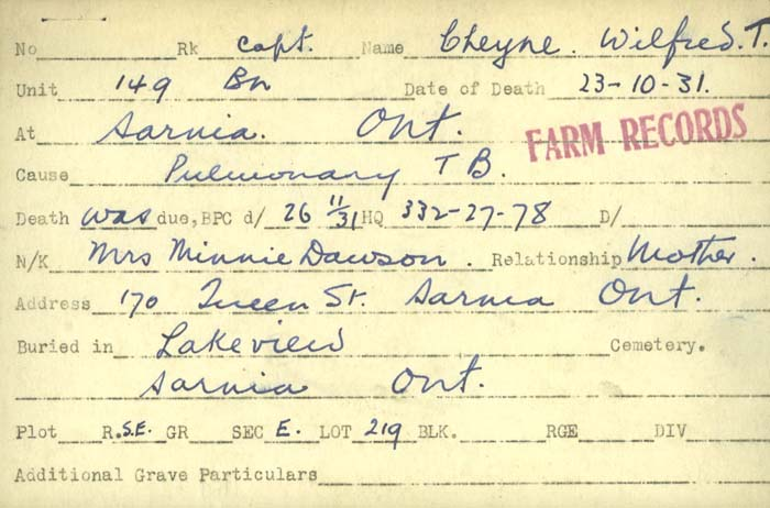 Title: Veterans Death Cards: First World War - Mikan Number: 46114 - Microform: casson_a-j