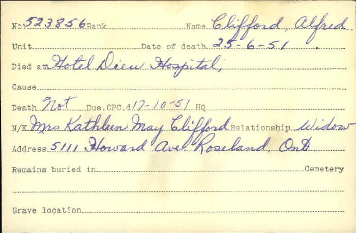 Title: Veterans Death Cards: First World War - Mikan Number: 46114 - Microform: clifford_alfred