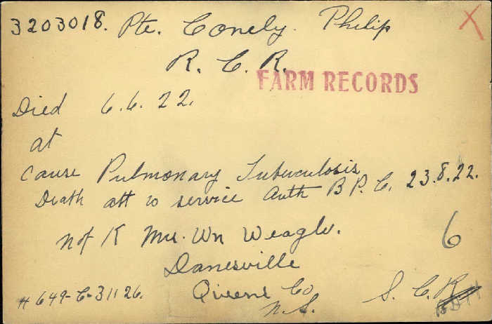 Title: Veterans Death Cards: First World War - Mikan Number: 46114 - Microform: conely_phillip