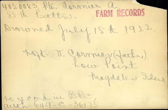 Title: Veterans Death Cards: First World War - Mikan Number: 46114 - Microform: cormier_a