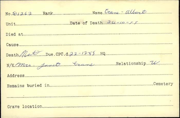 Title: Veterans Death Cards: First World War - Mikan Number: 46114 - Microform: crane_albert