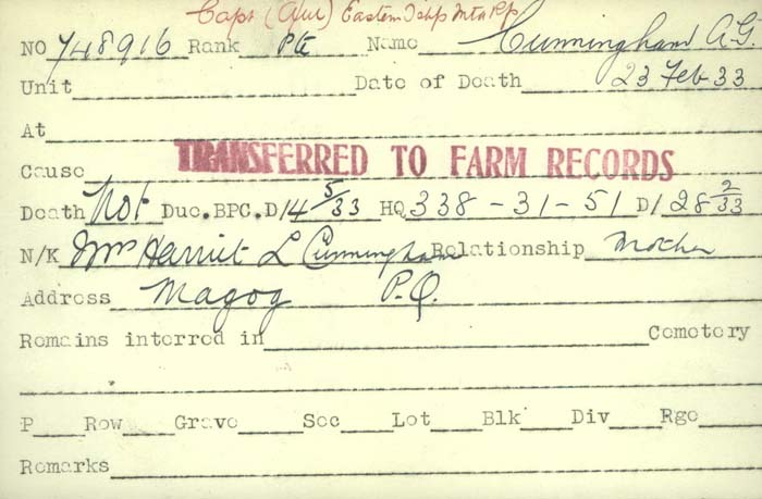 Title: Veterans Death Cards: First World War - Mikan Number: 46114 - Microform: cunningham_a