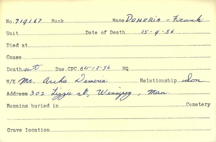 Title: Veterans Death Cards: First World War - Mikan Number: 46114 - Microform: davie_horace