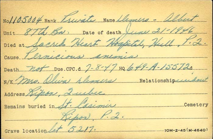 Title: Veterans Death Cards: First World War - Mikan Number: 46114 - Microform: demers_albert