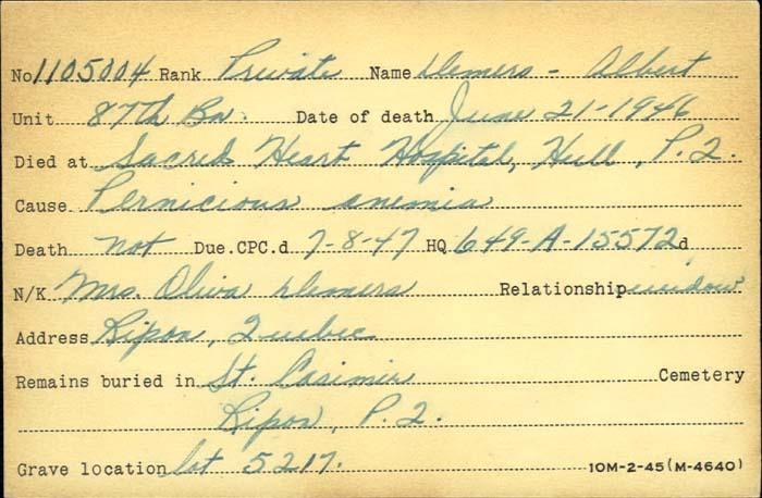 Titre: Cartes de décès des combattants : Première Guerre mondiale - N° d'enregistrement Mikan: 46114 - Microforme: demers_albert