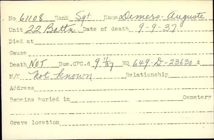 Title: Veterans Death Cards: First World War - Mikan Number: 46114 - Microform: demers_albert