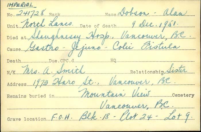 Titre: Cartes de décès des combattants : Première Guerre mondiale - N° d'enregistrement Mikan: 46114 - Microforme: dobson_alan