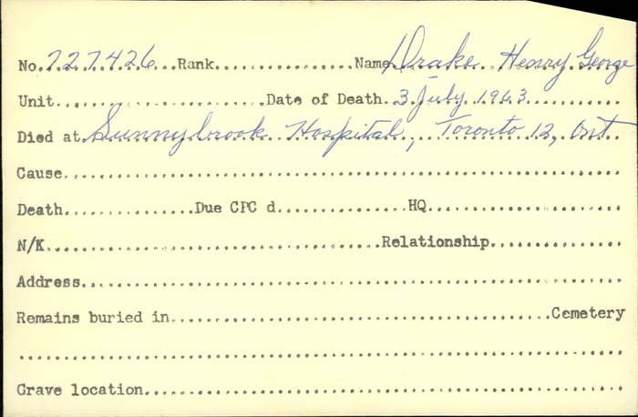 Title: Veterans Death Cards: First World War - Mikan Number: 46114 - Microform: dobson_alan
