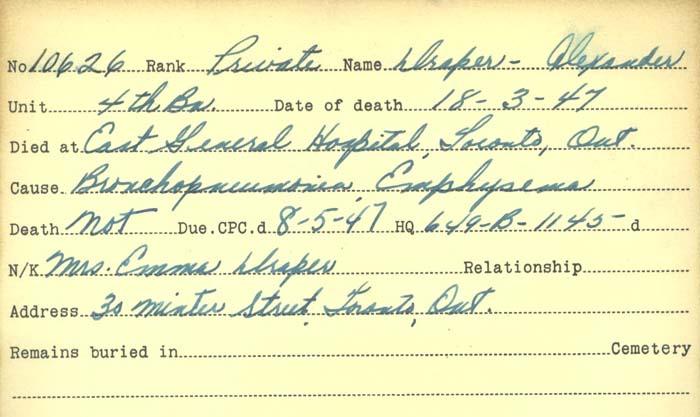 Title: Veterans Death Cards: First World War - Mikan Number: 46114 - Microform: draper_alexander