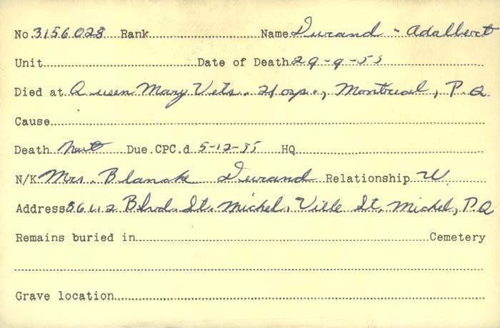 Titre: Cartes de décès des combattants : Première Guerre mondiale - N° d'enregistrement Mikan: 46114 - Microforme: durand_adalbert