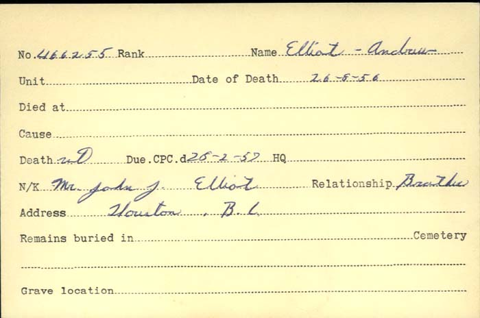Title: Veterans Death Cards: First World War - Mikan Number: 46114 - Microform: elliot_andrew