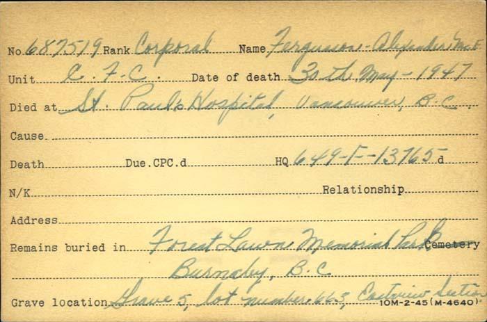 Title: Veterans Death Cards: First World War - Mikan Number: 46114 - Microform: fergusson_alexander