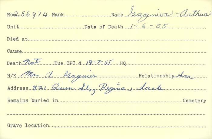 Title: Veterans Death Cards: First World War - Mikan Number: 46114 - Microform: francis_albert-e