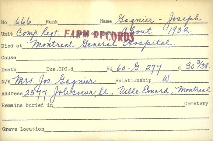 Title: Veterans Death Cards: First World War - Mikan Number: 46114 - Microform: francis_albert-e