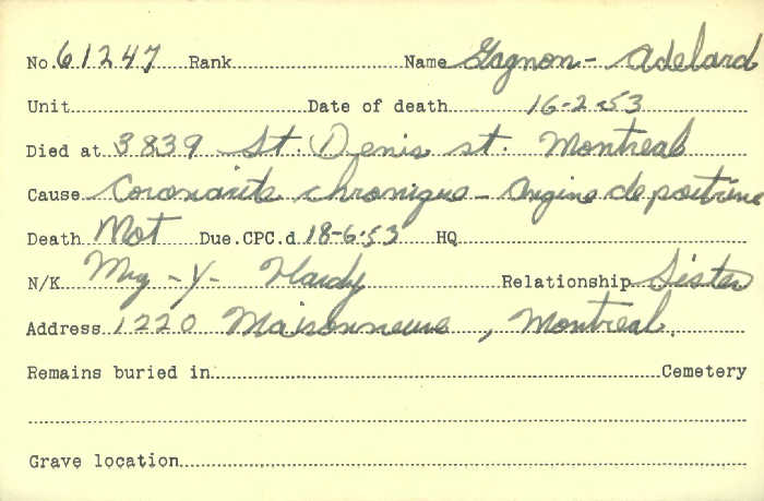 Title: Veterans Death Cards: First World War - Mikan Number: 46114 - Microform: gagnon_adelard