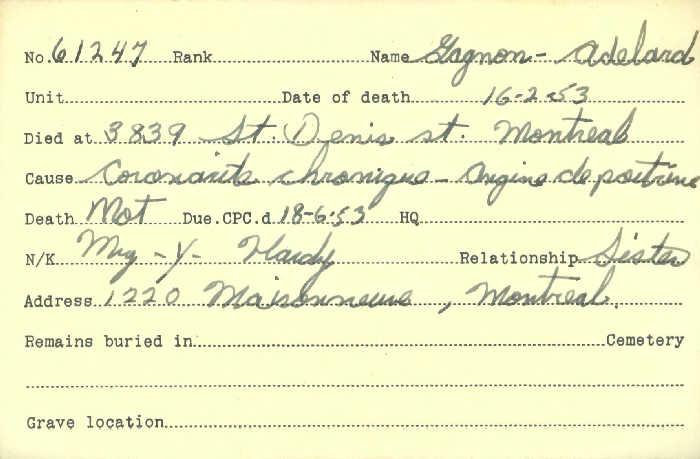 Titre: Cartes de décès des combattants : Première Guerre mondiale - N° d'enregistrement Mikan: 46114 - Microforme: gagnon_adelard
