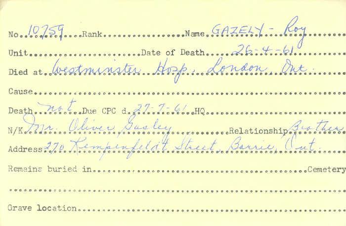 Title: Veterans Death Cards: First World War - Mikan Number: 46114 - Microform: gagnon_adelard